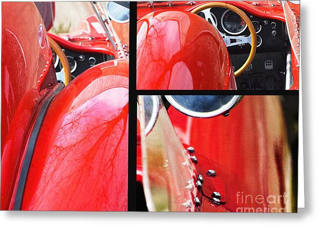 Car Part Mixed Media Greeting Cards - Red Sports Car Greeting Card by ArtyZen Studios