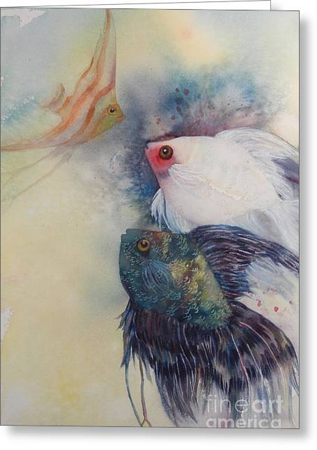 Water Fowl Greeting Cards - Red Spot Fish Greeting Card by Sharon Nelson-Bianco