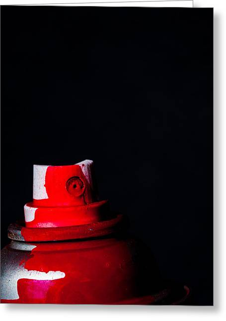 Wet Paint Greeting Cards - Red Spray Greeting Card by Karol  Livote