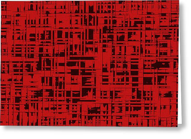 Geometric Effect Greeting Cards - Red Square Oct31201 Greeting Card by Igor Kislev
