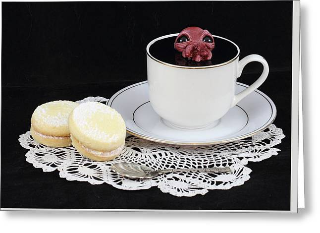 Awesome Sculptures Greeting Cards - Red Squid in a Teacup on black Greeting Card by Michael Palmer