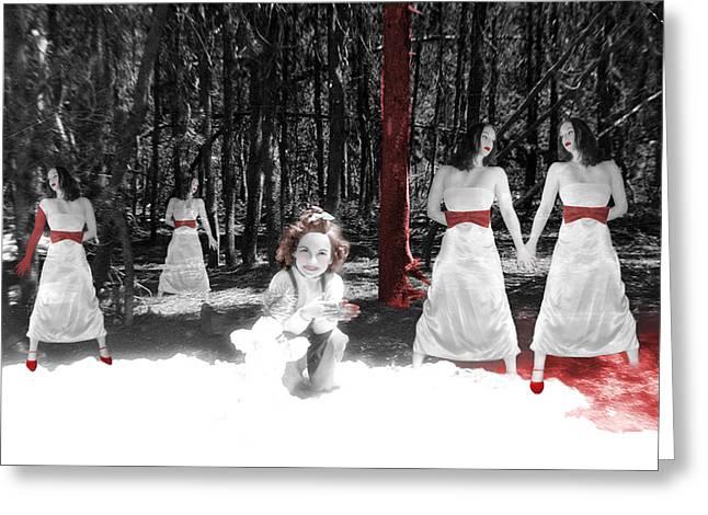Creepy Digital Art Greeting Cards - Red Stains - Self Portrait Greeting Card by Jaeda DeWalt