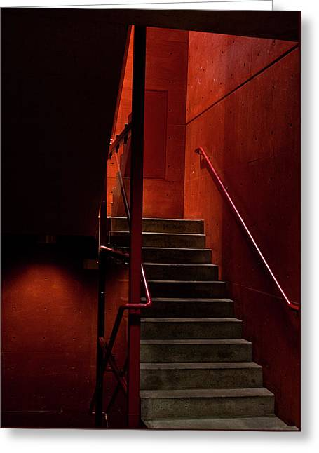 Santa Fe Greeting Cards - Red stairs Greeting Card by Elena Nosyreva