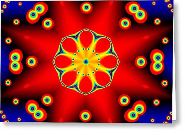 Geometric Artwork Greeting Cards - Red Star Fractal Mandala Greeting Card by Marv Vandehey