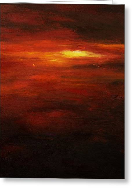 Abstract Expression Greeting Cards - Red Sun Greeting Card by Tara Thelen - Printscapes