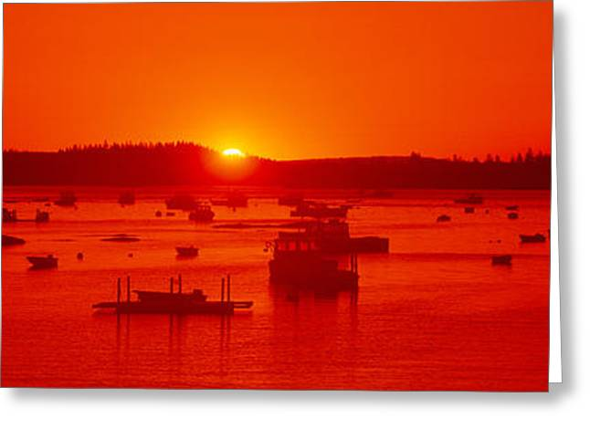 Red Sunrise At Lobster Village Greeting Card by Panoramic Images
