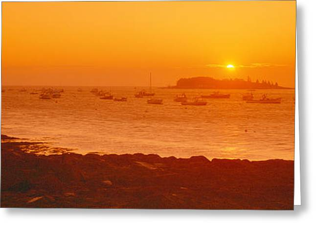 Red Sunrise At Lobster Village, Tenants Greeting Card by Panoramic Images