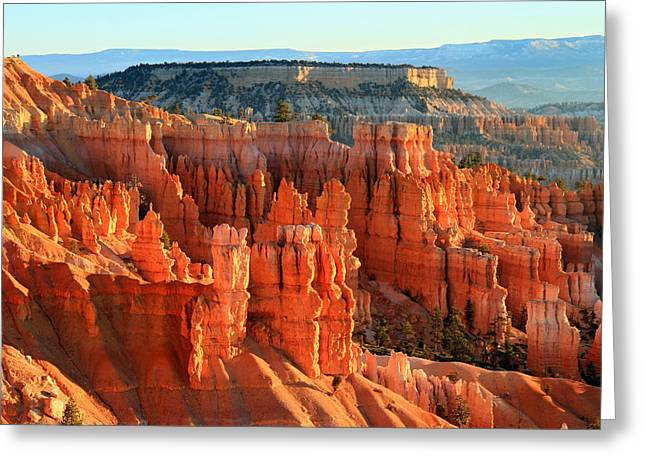 Red Sunrise Glow On The Hoodoos Of Bryce Canyon Greeting Card by Pierre Leclerc Photography
