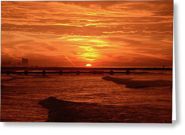Red Sunrise - Ocean City New Jersey Greeting Card by Bill Cannon