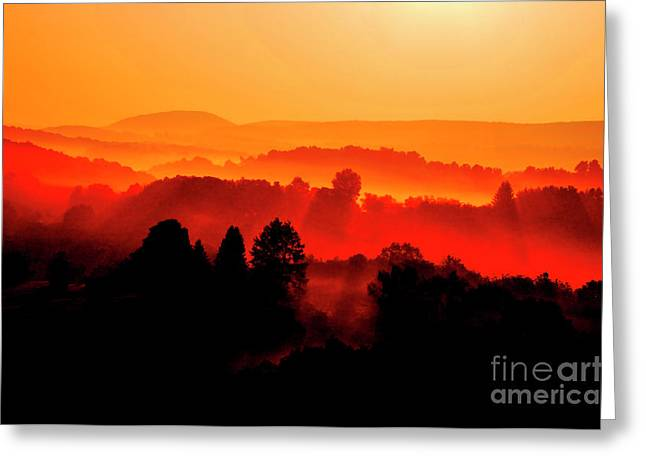 Webster County Greeting Cards - Red Sunrise Greeting Card by Thomas R Fletcher
