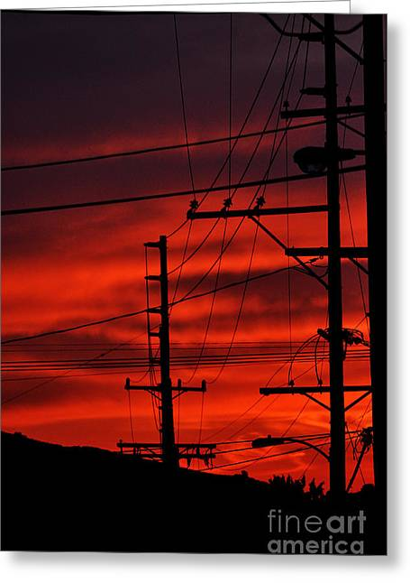 Red Sunset  Greeting Card by Clayton Bruster