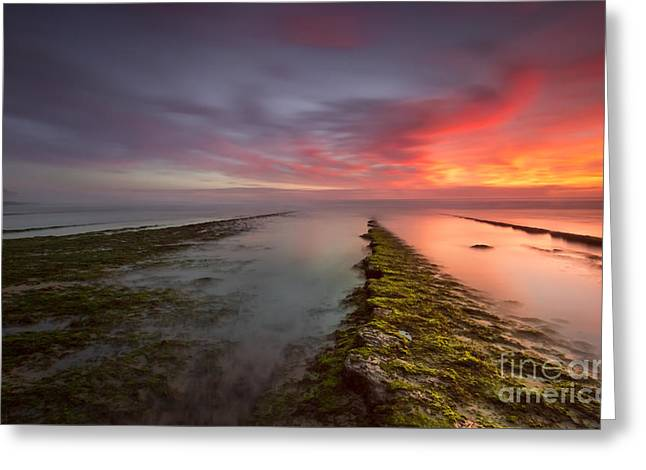 Ocean Art Photos Greeting Cards - Red Sunset Greeting Card by Henrique Silva