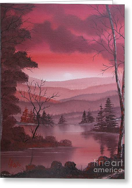 Fantasy World Greeting Cards - Red Sunset Greeting Card by Lettie Hoots