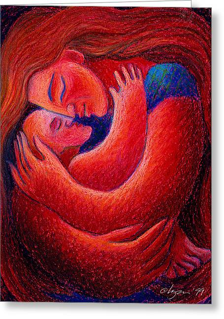 Soft Light Pastels Greeting Cards - Red Sunset Mama Greeting Card by Angela Treat Lyon