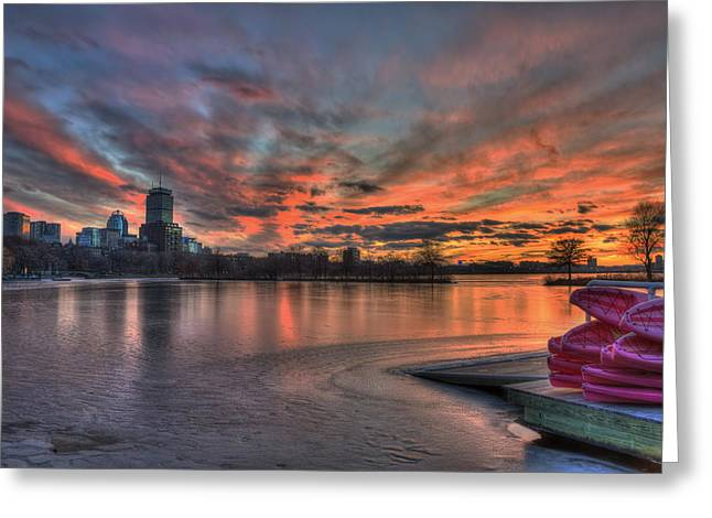 Red Sunset Over The Boston Skyline Greeting Card by Joann Vitali