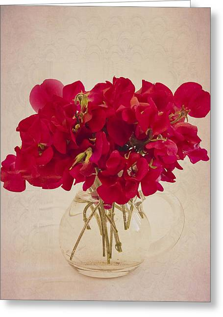 Interior Still Life Greeting Cards - Red Sweet Pea Bouquet Greeting Card by Sandra Foster