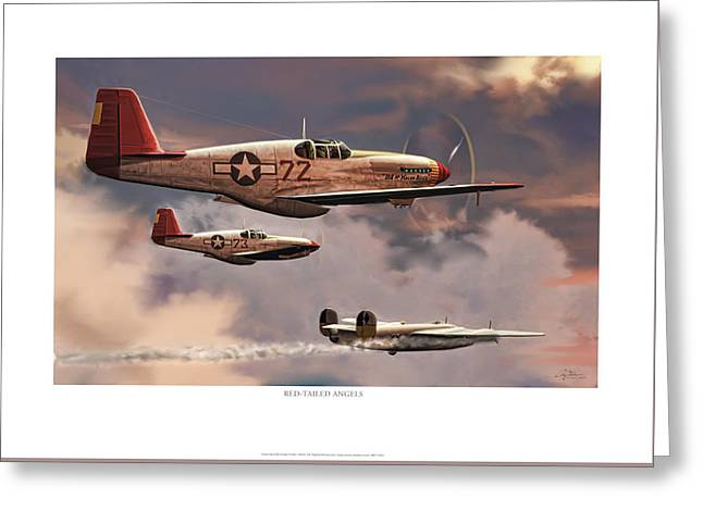 Red-tailed Angels Tuskegee Airmen P-51c Mustang Greeting Card by Craig Tinder