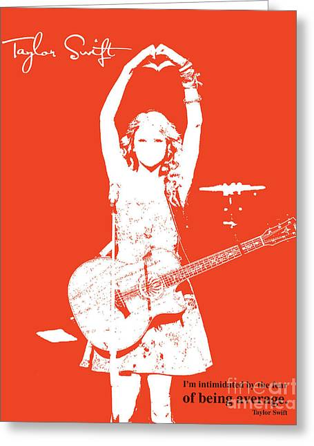 Guitar Player Mixed Media Greeting Cards - Red Taylor Greeting Card by Pablo Franchi