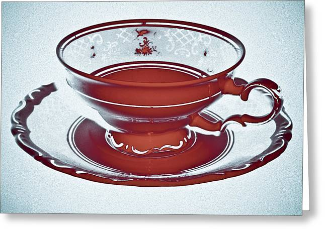 Red Tea Cup Greeting Card by Frank Tschakert