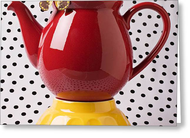 Red teapot with butterfly Greeting Card by Garry Gay