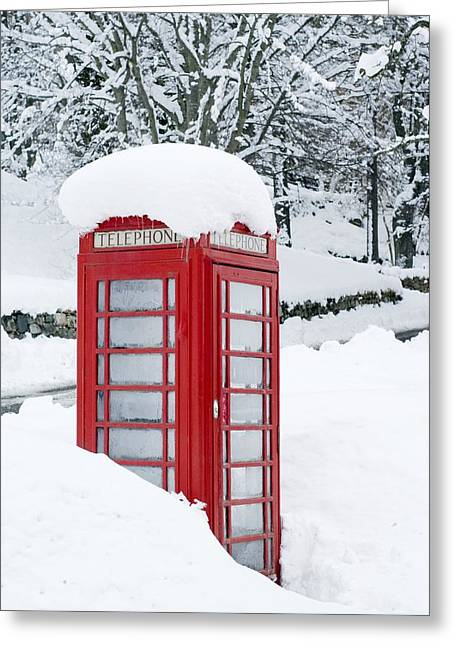 Telephone Box Greeting Cards - Red Telephone Box In Heavy Snow Greeting Card by Duncan Shaw