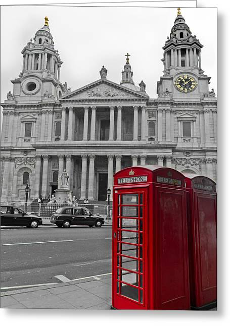 City And Colour Greeting Cards - Red telephone boxes in London Greeting Card by Gary Eason