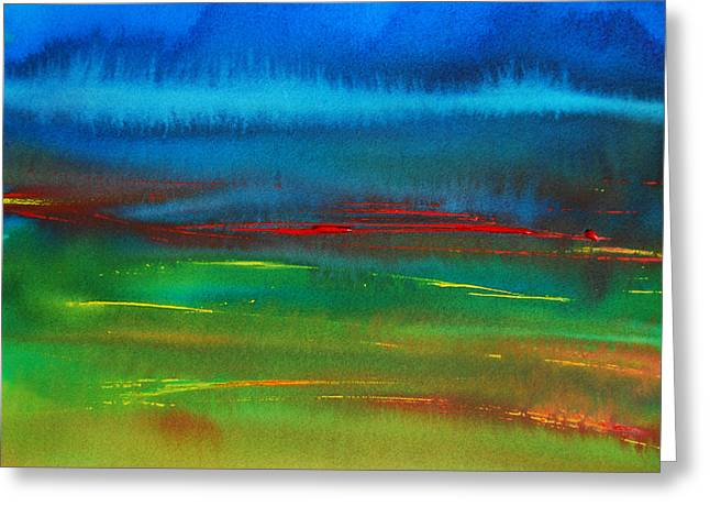 Sailboat Art Greeting Cards - Red Tide Abstract Greeting Card by Jani Freimann