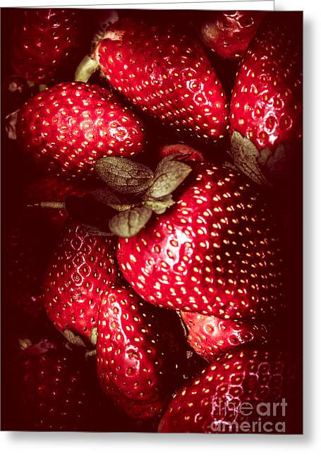 Red Toned Strawberries  Greeting Card by Jorgo Photography - Wall Art Gallery