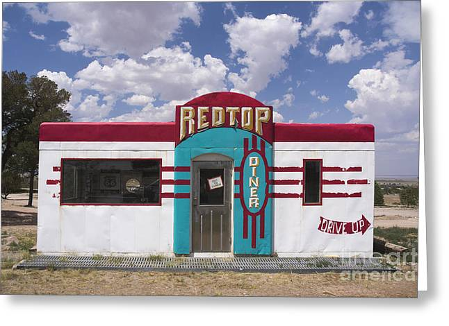 Restaurant On Top Greeting Cards - Red Top Diner on Route 66 Greeting Card by Priscilla Burgers
