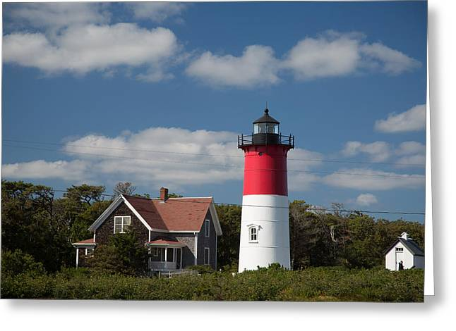 Sheds Greeting Cards - Red top lighthouse with white shed Greeting Card by Mark Beecher