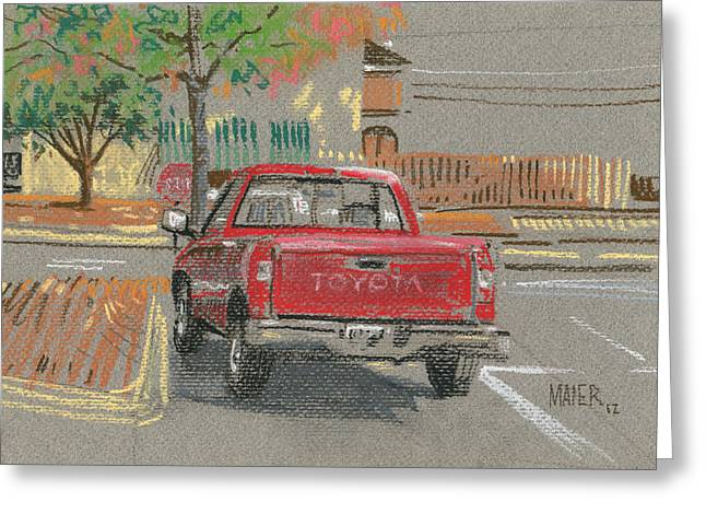 Red Toyota Greeting Card by Donald Maier