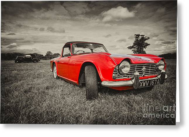 Rally Greeting Cards - Red TR4  Greeting Card by Rob Hawkins