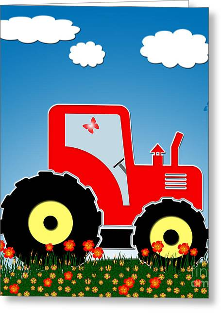 Red Tractor In A Field Greeting Card by Gaspar Avila