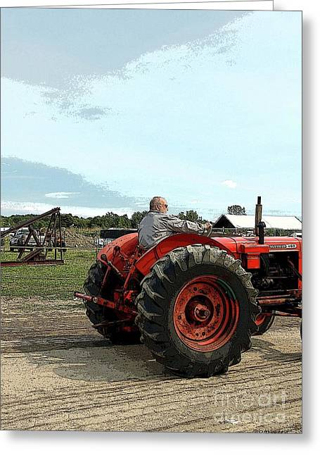 Struckle Digital Art Greeting Cards - Red Tractor Greeting Card by Kathleen Struckle
