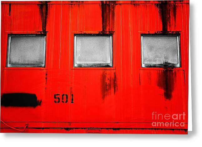 Old Caboose Greeting Cards - Red Train Caboose Greeting Card by Andrew Glisson