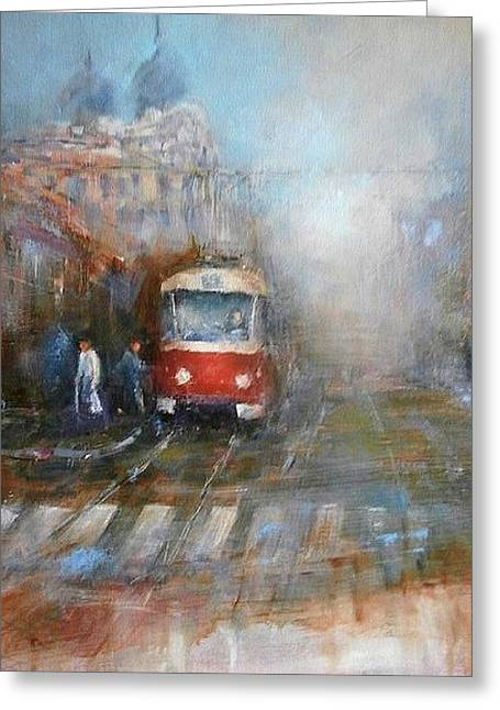 Red Tram Greeting Card by Milos Pucek