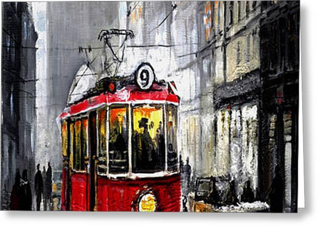 Red Tram Greeting Card by Yuriy  Shevchuk