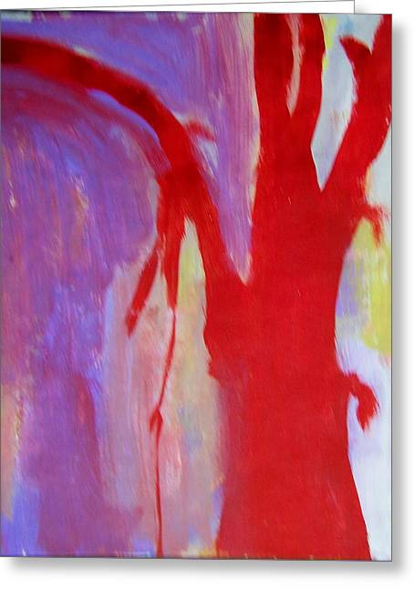 Weeping Greeting Cards - Red Tree Abstract Greeting Card by Judith Redman