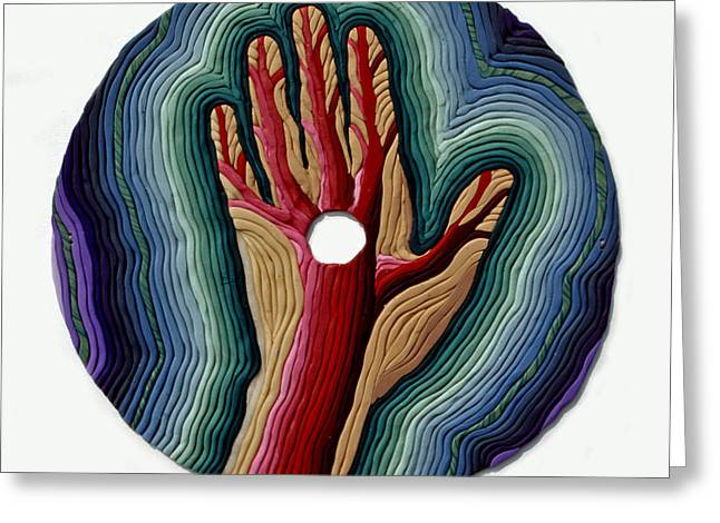 Hand Reliefs Greeting Cards - Red Tree Greeting Card by Arla Patch