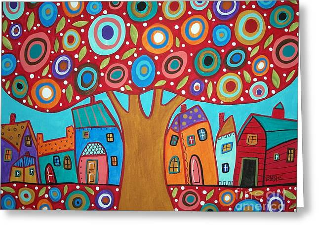 Circle Pastels Greeting Cards - Red Tree Greeting Card by Karla Gerard