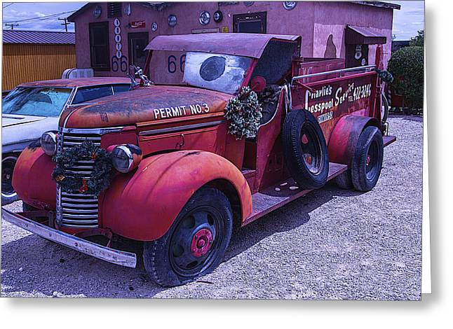 No 3 Greeting Cards - Red truck Permit NO 3 Greeting Card by Garry Gay