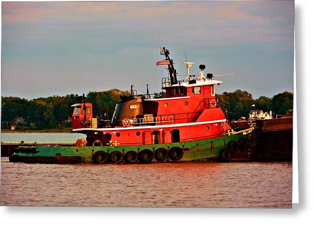 Beach Landscape Greeting Cards - Red Tug Boat on the Lake Greeting Card by Richard Jenkins