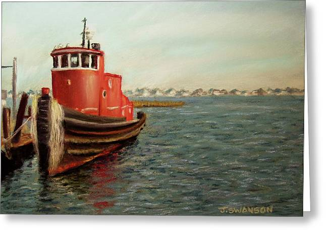 Docked Boats Pastels Greeting Cards - Red Tugboat Greeting Card by Joan Swanson
