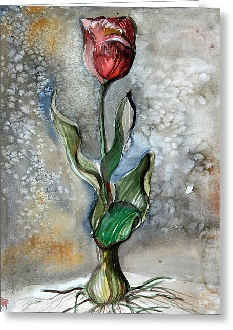 Spring Bulbs Mixed Media Greeting Cards - Red Tulip Greeting Card by Mindy Newman