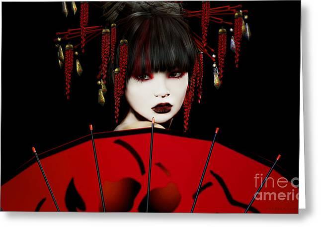 Bass Digital Art Greeting Cards - Red Umbrella Geisha Greeting Card by Shanina Conway