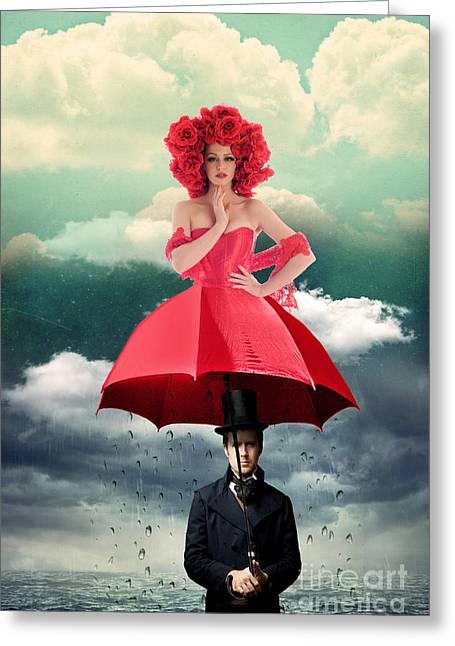 Red Umbrella Greeting Card by Juli Scalzi