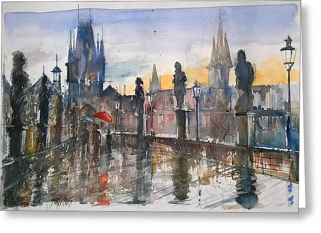 Prague Paintings Greeting Cards - Red umbrella Greeting Card by Lorand Sipos