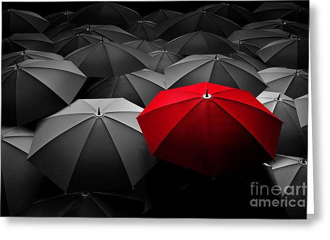 Multiple Identities Greeting Cards - Red umbrella stand out from the crowd of many black and white umbrellas Greeting Card by Michal Bednarek