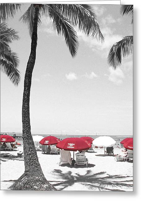 Red Umbrellas On Waikiki Beach Hawaii Greeting Card by Kerri Ligatich