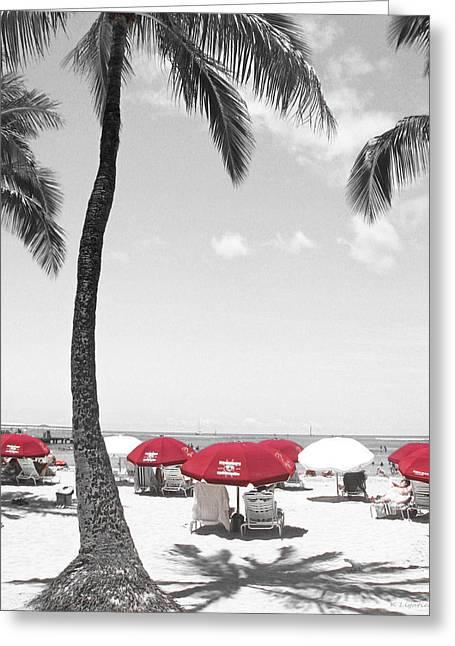Sunbathing Greeting Cards - Red Umbrellas on Waikiki Beach Hawaii Greeting Card by Kerri Ligatich